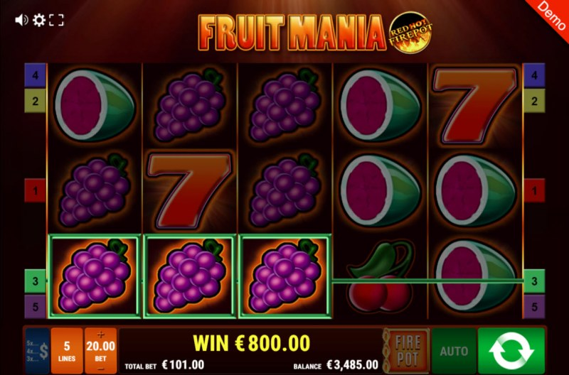 Fruit Mania Red Hot Fire Pot :: Three of a kind