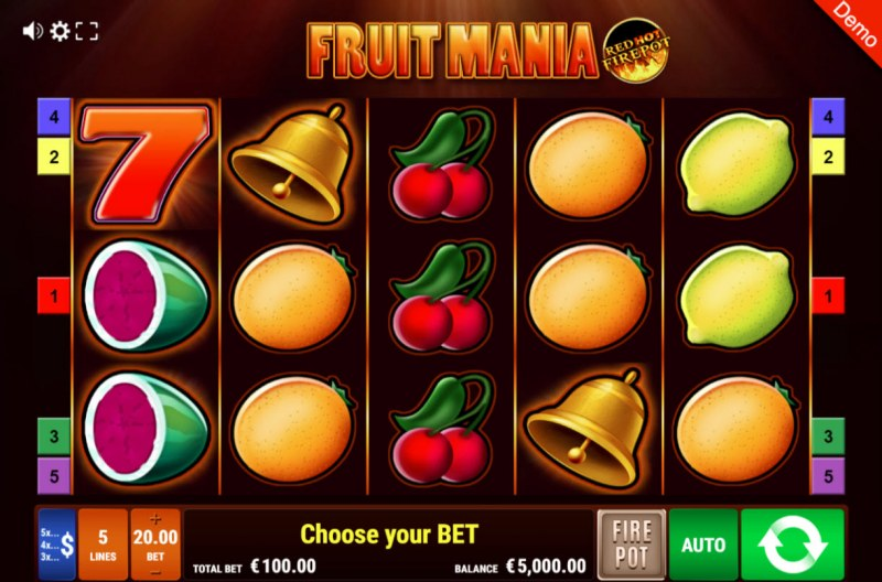Fruit Mania Red Hot Fire Pot :: Main Game Board