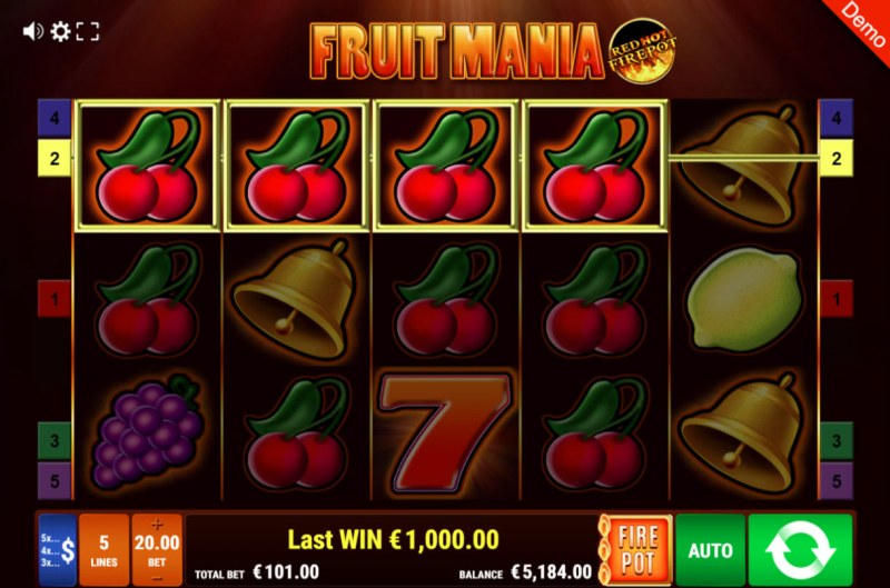 Fruit Mania Red Hot Fire Pot :: Four of a kind