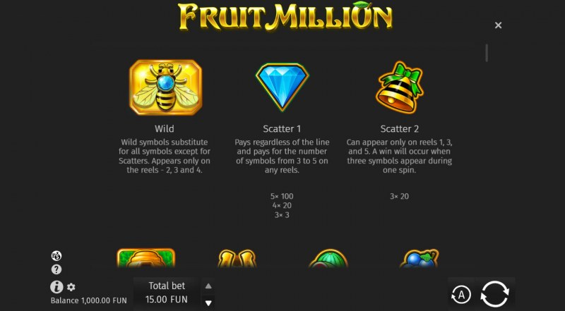 Fruit Million Summer Edition :: Wild and Scatter Rules