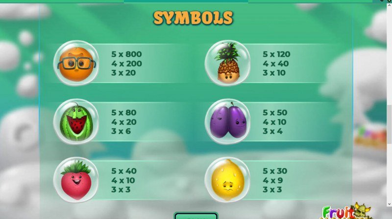 Fruit Monster :: Paytable