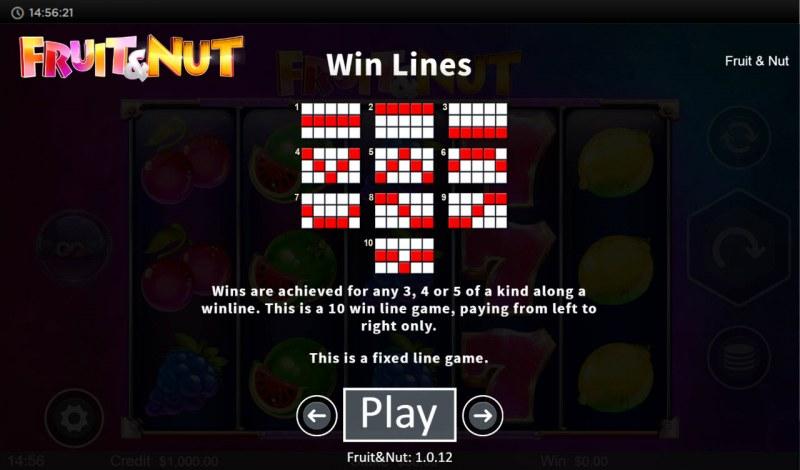 Fruit & Nut :: Paylines 1-10