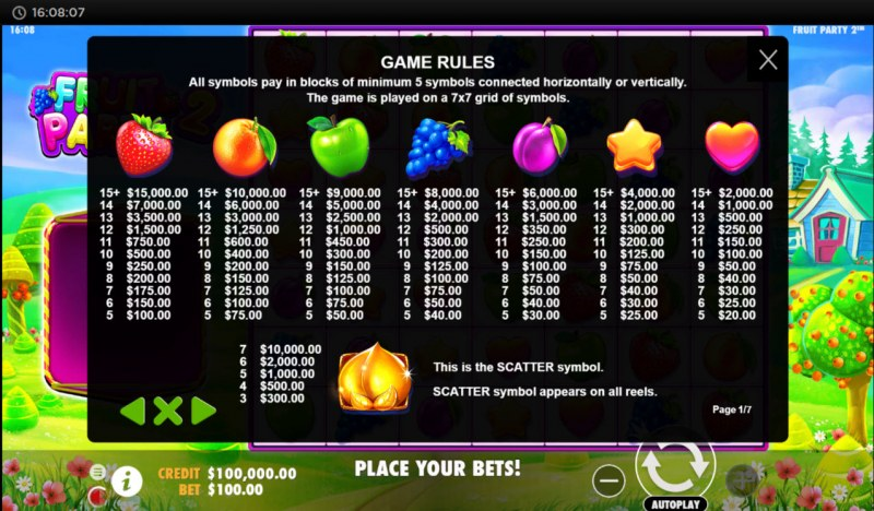 Fruit Party 2 :: Paytable