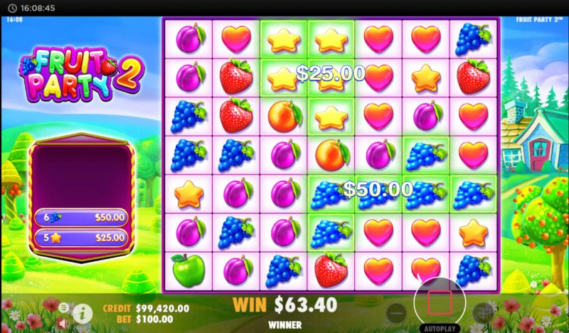 Fruit Party 2 :: A pair of winning clusters