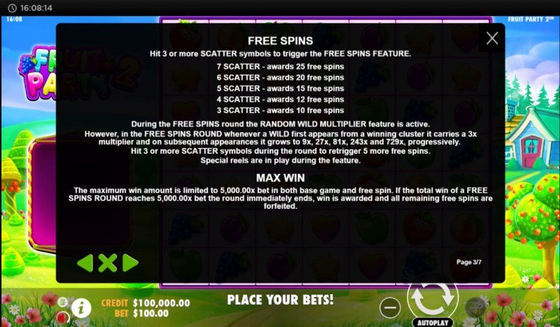 Fruit Party 2 :: Free Spin Feature Rules