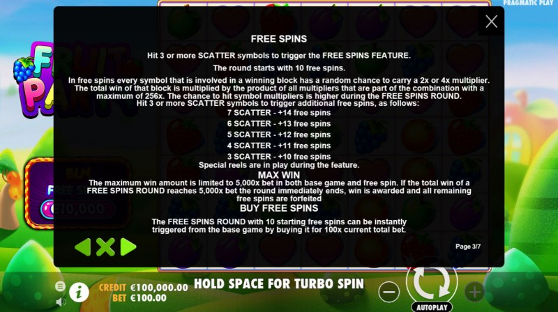 Fruit Party :: Free Spins Rules