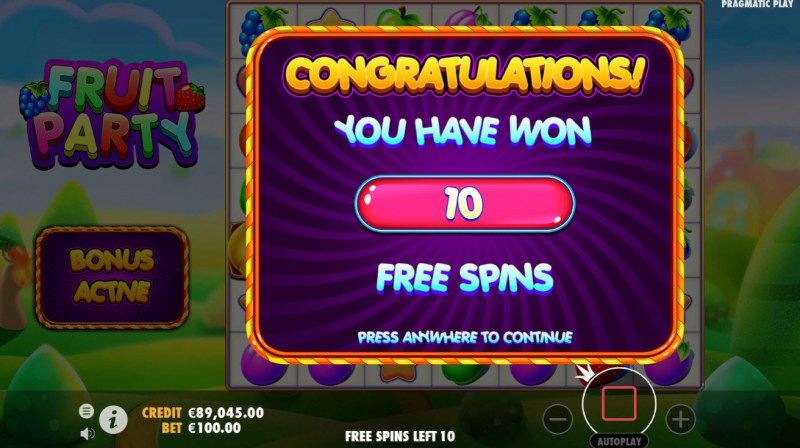 Fruit Party :: 10 Free Spins Awarded