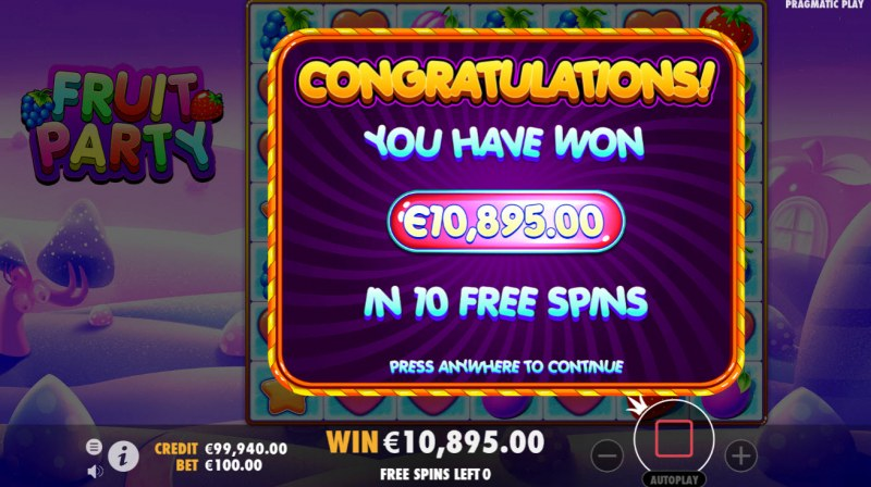 Fruit Party :: Total free spins payout