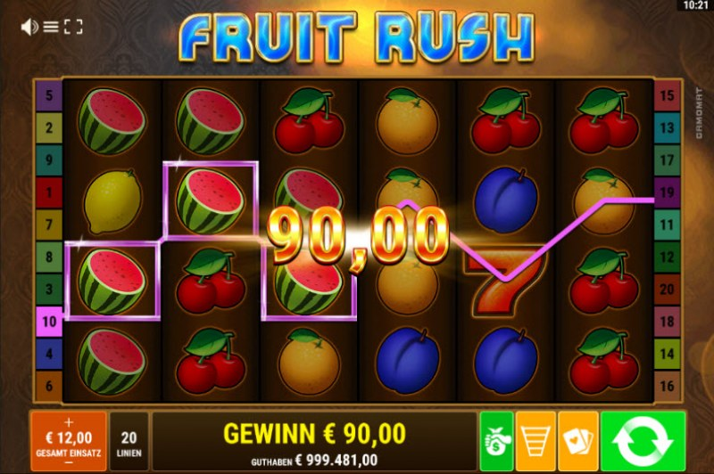 Fruit Rush :: Multiple winning paylines