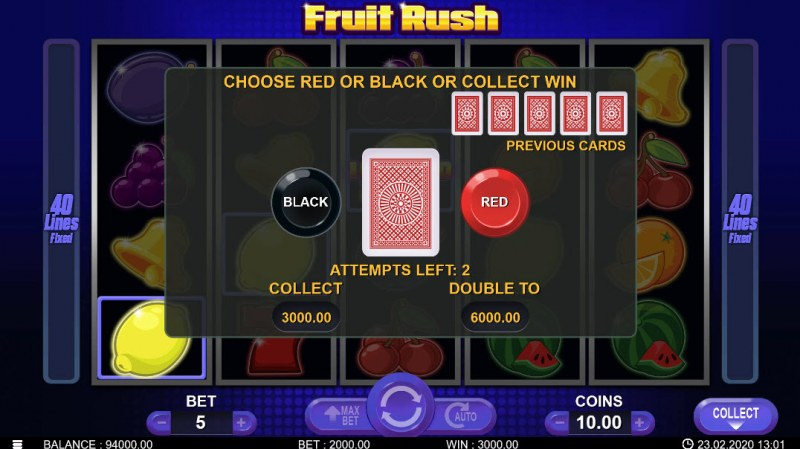 Fruit Rush :: Black or Red Gamble Feature
