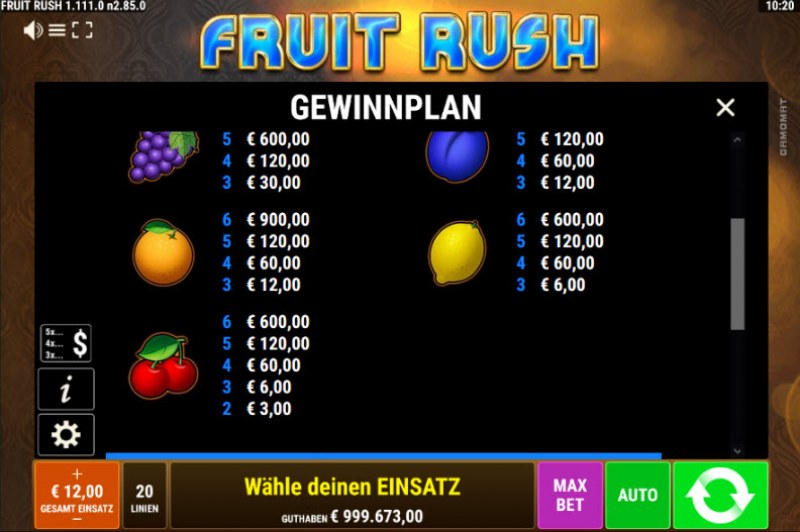 Fruit Rush :: Paytable - Low Value Symbols