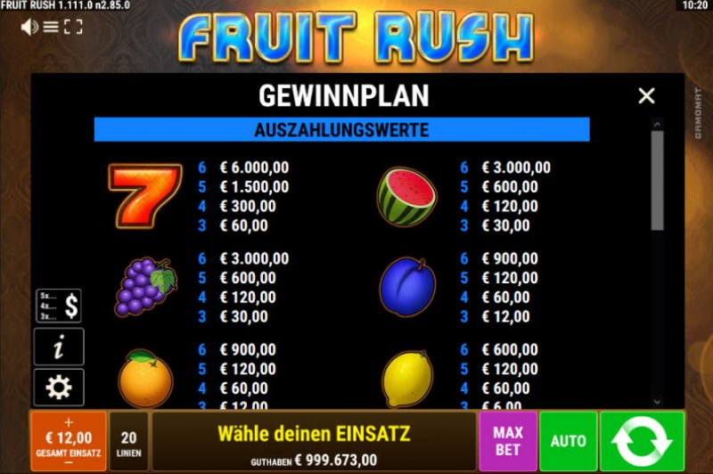 Fruit Rush :: Paytable - High Value Symbols