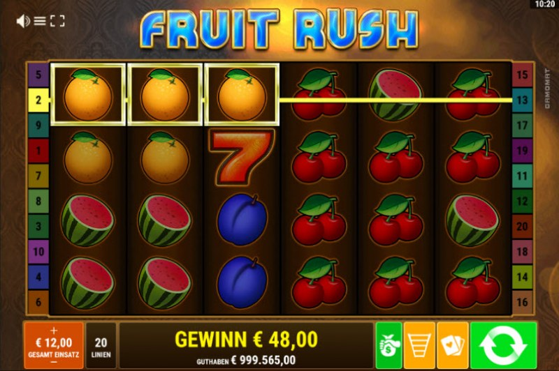 Fruit Rush :: Three of a kind win