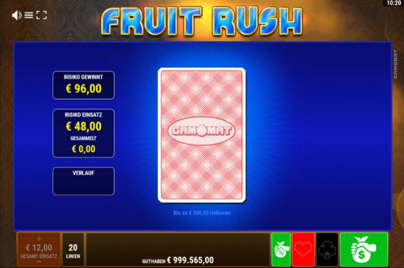 Fruit Rush :: Red or Black Gamble Feature