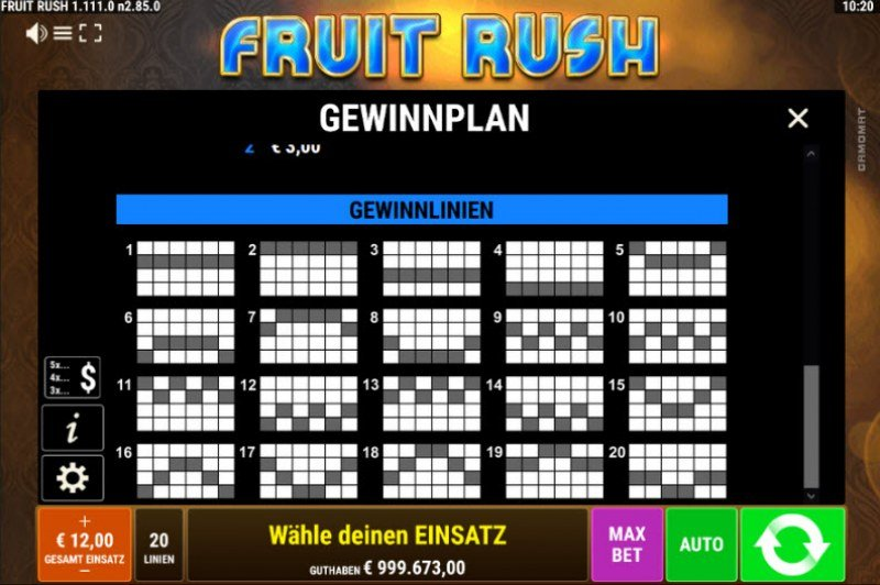Fruit Rush :: Paylines 1-20