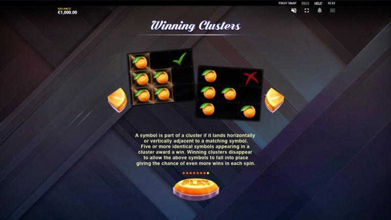 Fruit Snap :: Winning Clusters