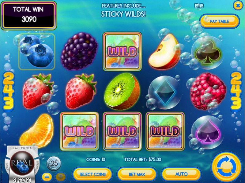 Fruit Splash :: Respin feature leads to multiple winning combinations