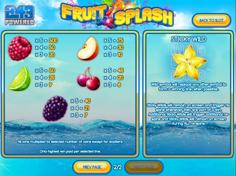 Play slots at Desert Nights Rival: Desert Nights Rival featuring the Video Slots Fruit Splash with a maximum payout of $2,250