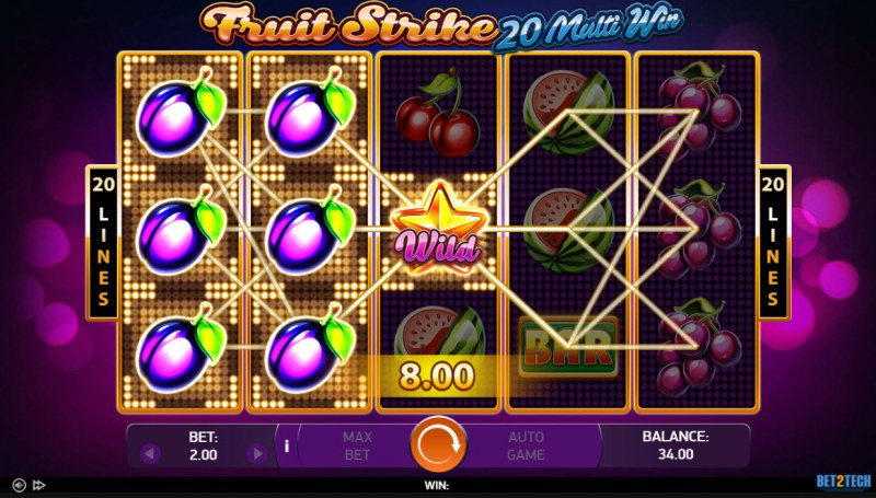 Fruit Strike 20 Multi Win :: Multiple winning paylines