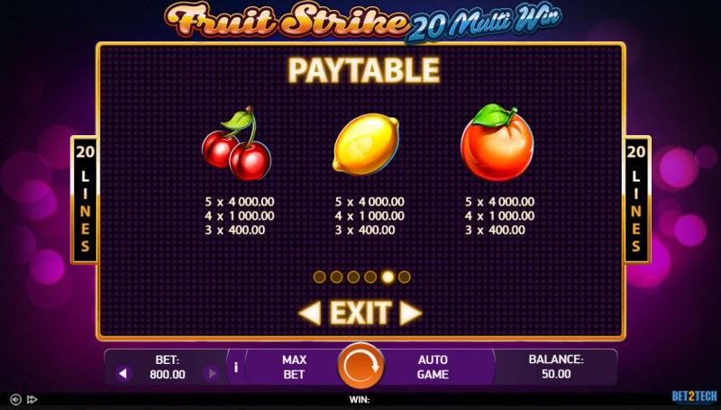 Fruit Strike 20 Multi Win :: Paytable - Low Value Symbols