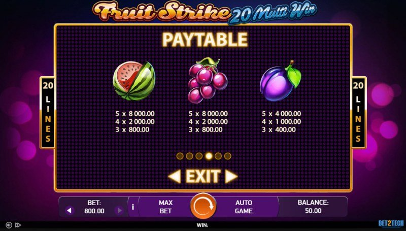 Fruit Strike 20 Multi Win :: Paytable - Medium Value Symbols