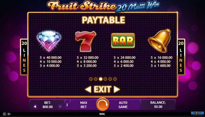 Fruit Strike 20 Multi Win :: Paytable - High Value Symbols