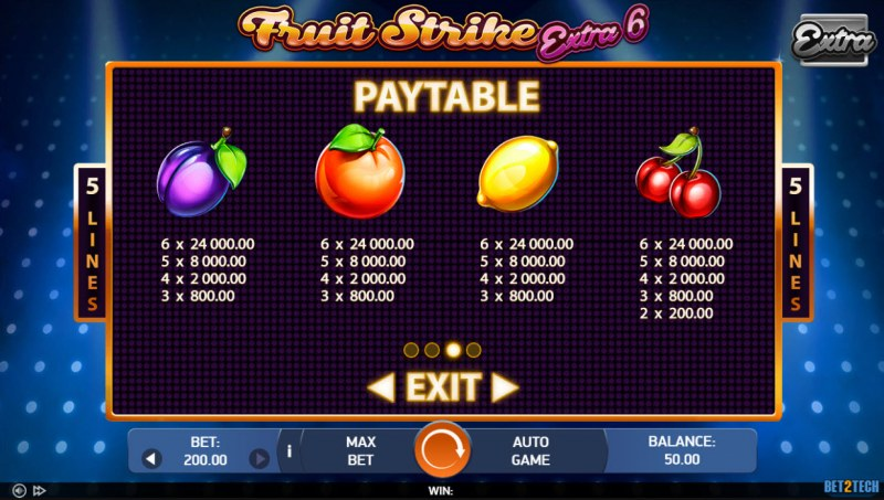 Fruit Strike Extra 6 :: Paytable - Low Value Symbols