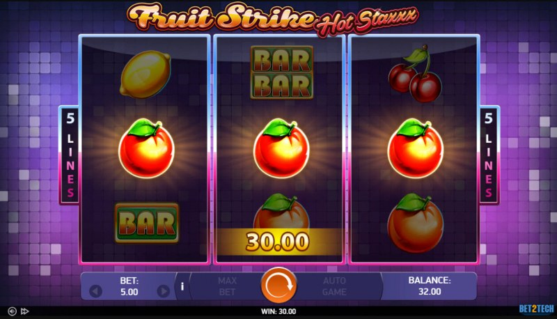 Fruit Strike Hot Staxxx :: A three of a kind win