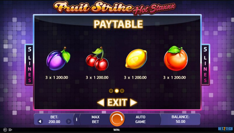 Fruit Strike Hot Staxxx :: Paytable - Low Value Symbols