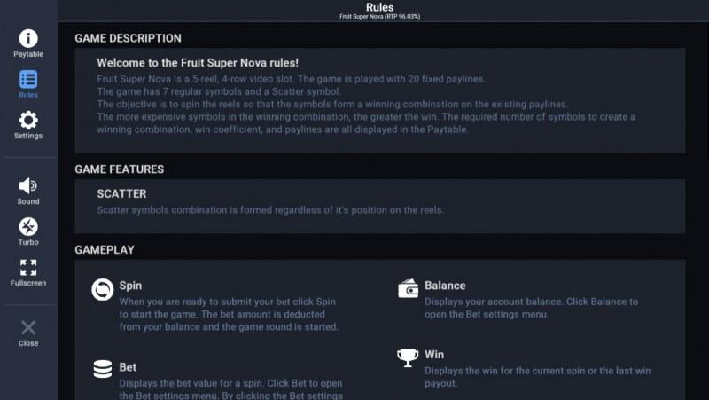 Fruit Super Nova :: General Game Rules