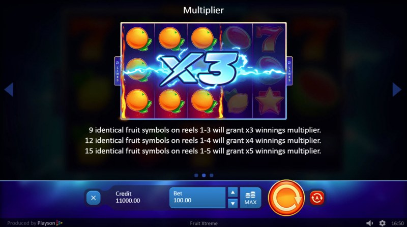 Fruit Xtreme :: Multiplier Feature Rules