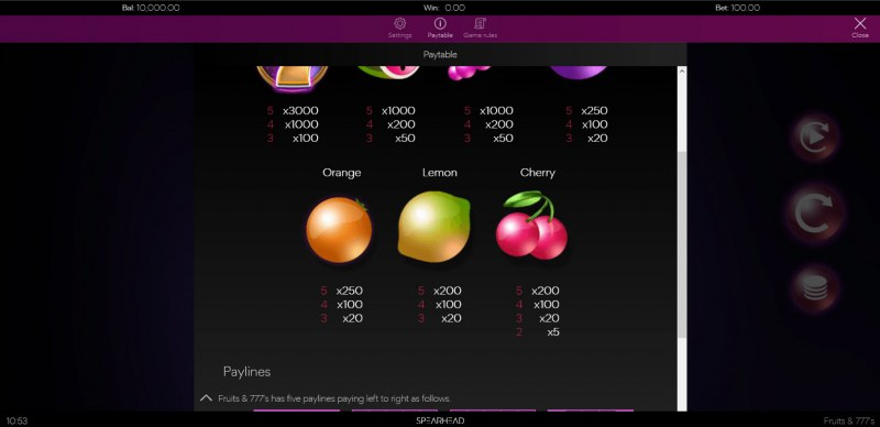 Fruits & 777's :: Paytable - Low Value Symbols
