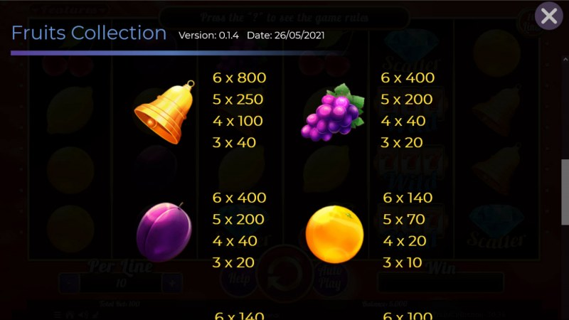 Fruits Collection 10 Lines :: Paytable - Medium Value Symbols