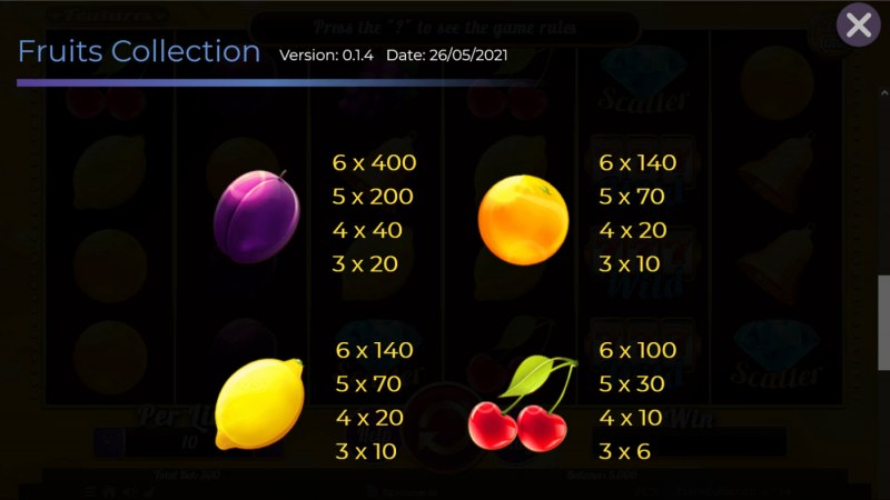 Fruits Collection 30 Lines :: Paytable - Low Value Symbols