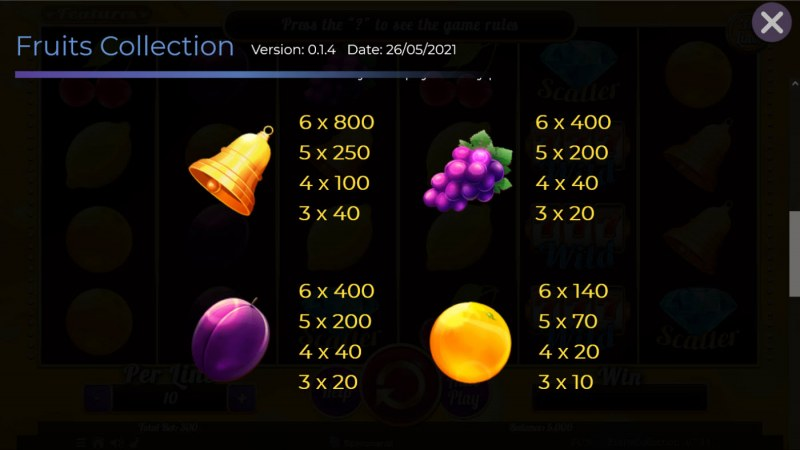 Fruits Collection 30 Lines :: Paytable - Medium Value Symbols