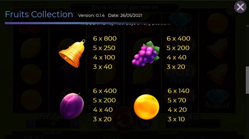 Fruits Collection 40 Lines :: Paytable - Medium Value Symbols