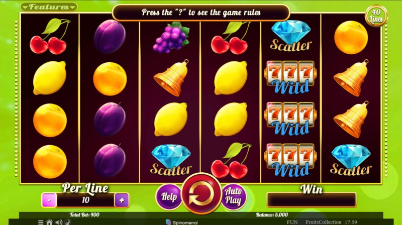 Fruits Collection 40 Lines :: Base Game Screen