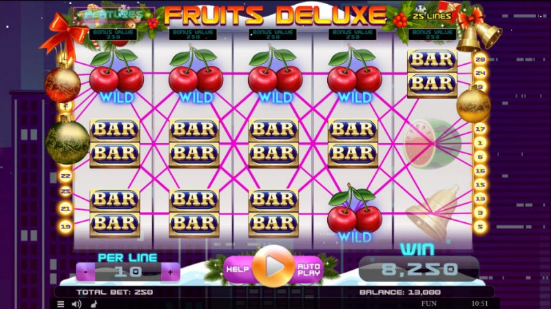 Fruits Deluxe Christmas Edition :: Multiple winning paylines