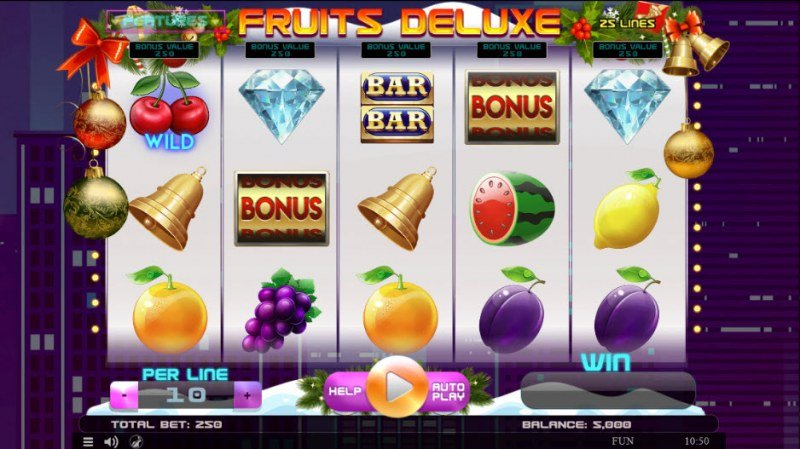 Play slots at This Is Vegas: This Is Vegas featuring the Video Slots Fruits Deluxe Christmas Edition with a maximum payout of $45,000