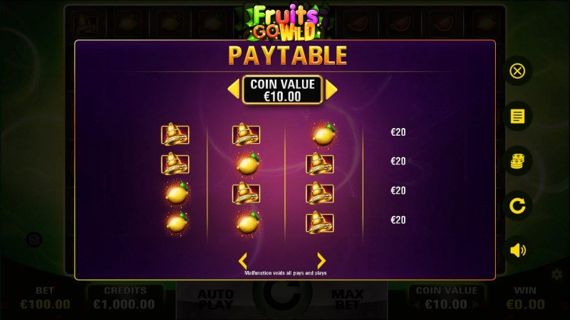 Fruits Go Wild :: Paytable