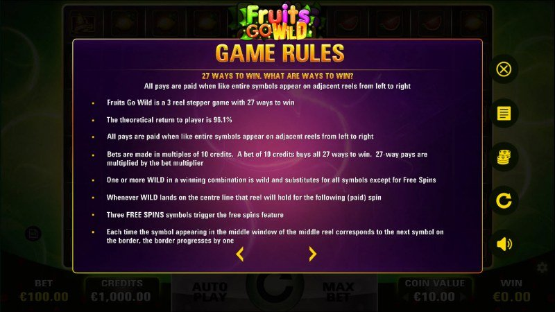 Fruits Go Wild :: General Game Rules