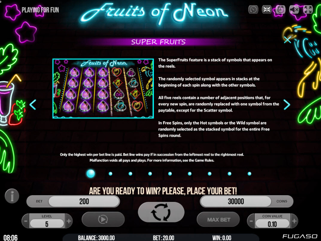 Play slots at Napoli: Napoli featuring the Video Slots Fruits of Neon with a maximum payout of $80,000
