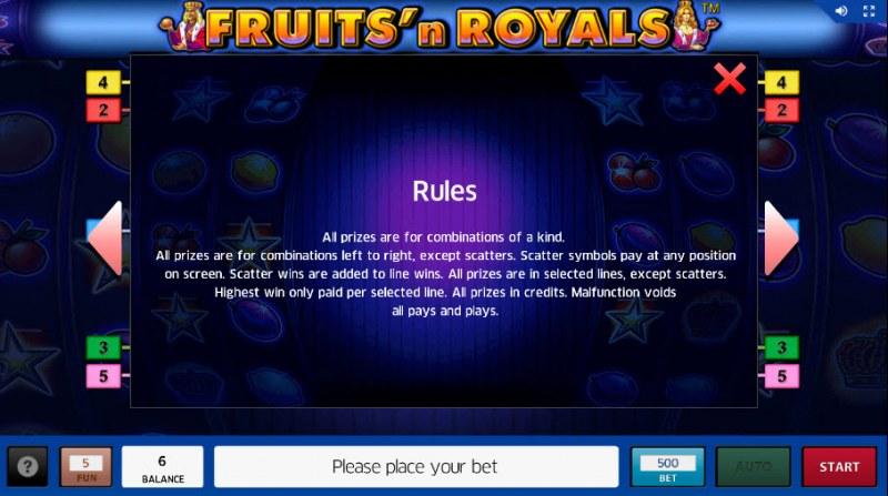 Fruits'n Royals :: General Game Rules