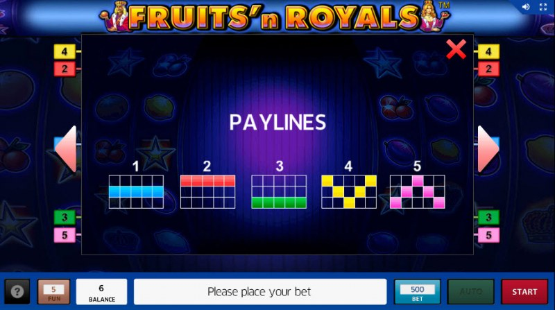 Fruits'n Royals :: Paylines 1-5