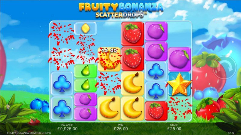 Fruity Bonanza Scatter Drops :: Winning symbols are removed from the reels and new symbols drop in place
