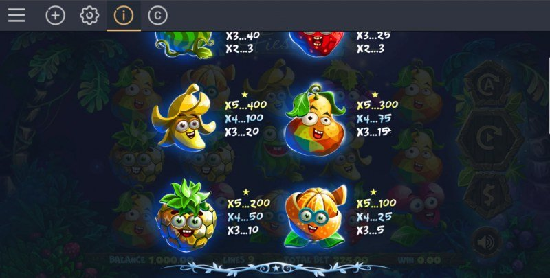Fruity Fiesta :: Paytable - Low Value Symbols