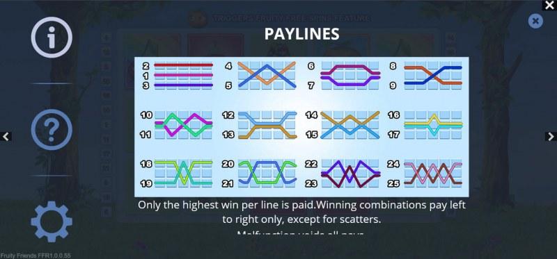 Fruity Friends :: Paylines 1-25
