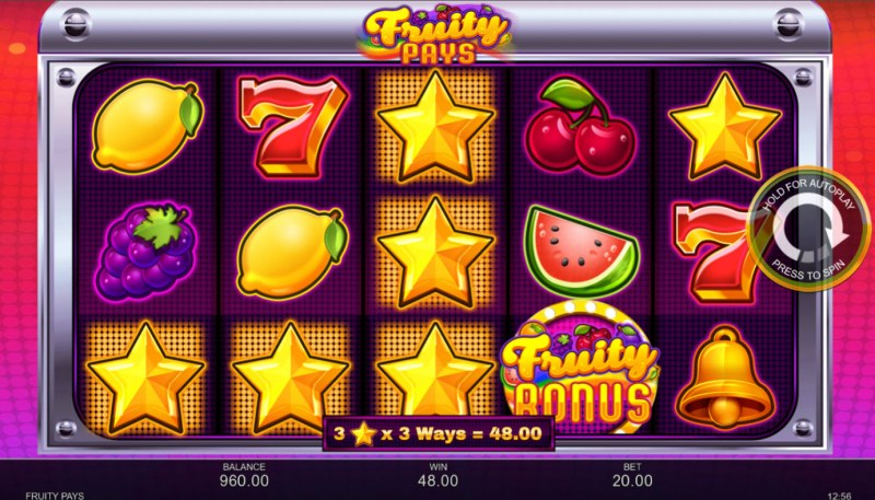 Fruity Pays :: A three of a kind win