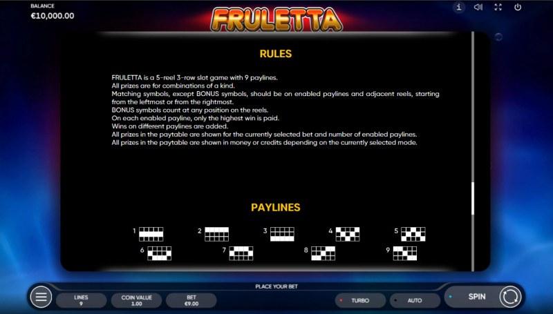Fruletta :: General Game Rules