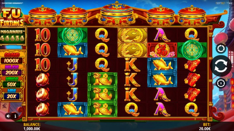Fu Fortunes Megaways :: Main Game Board
